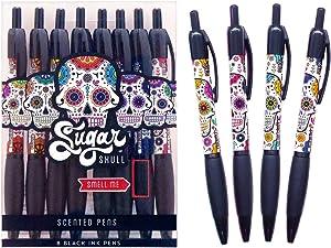 Scentco Sugar Skull Smens - Scented Pens, Black Gel Ink, Medium Point, Black Cherry & Strawberry - 8 Count