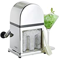 VonShef Ice Crusher Manual Machine with Stylish Mirrored Finish Includes a Scoop and Ice Tray