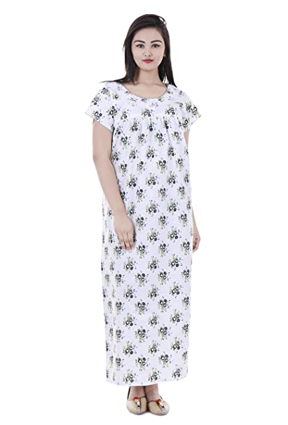 3de069684d Women Cotton Nighty, Gown, Sleepwear, Nightwear, Maxi - Soft and Stylish  Night Suit, Cotton: Amazon.in: Clothing & Accessories