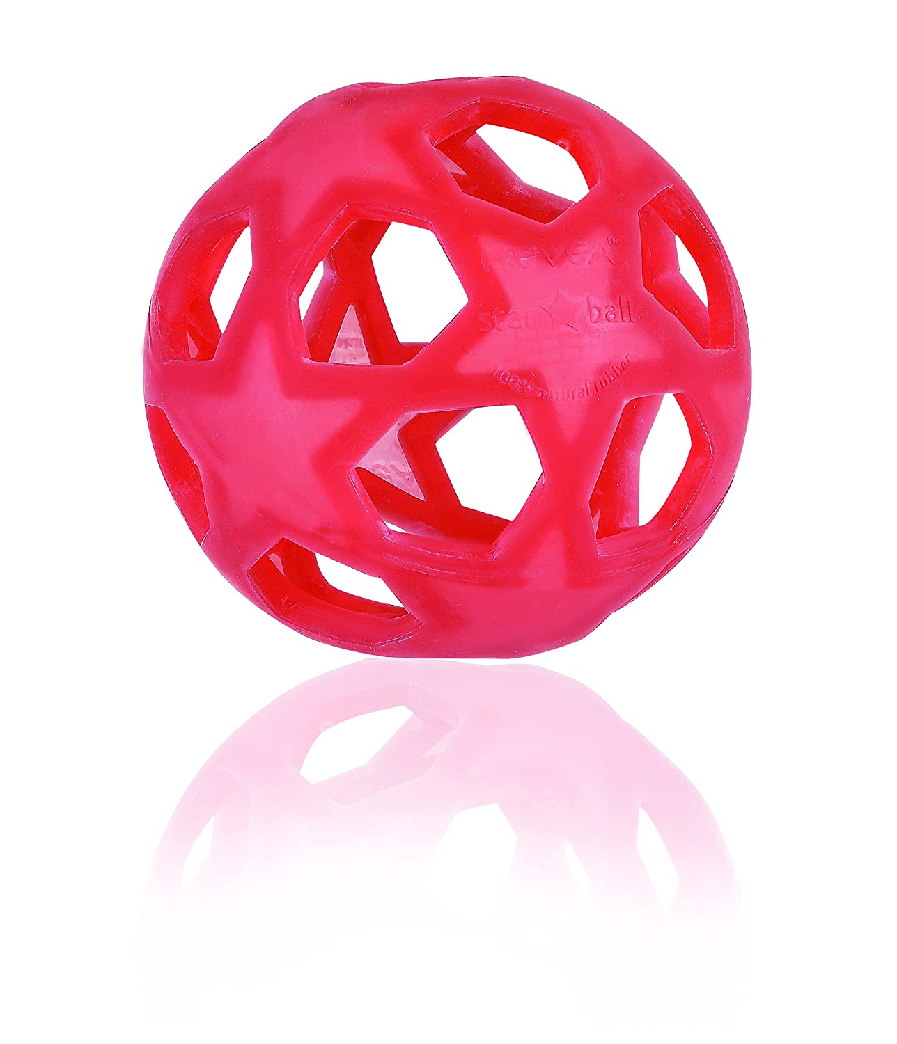Tactile HEVEA Non-Toxic, Natural Rubber Star Ball, Raspberry Red, Squeezable & Fun, Plastic-Free