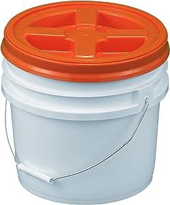 Bucket Kit, 3.5 Gallon Bucket with Orange Gamma Seal Screw-on threaded lid