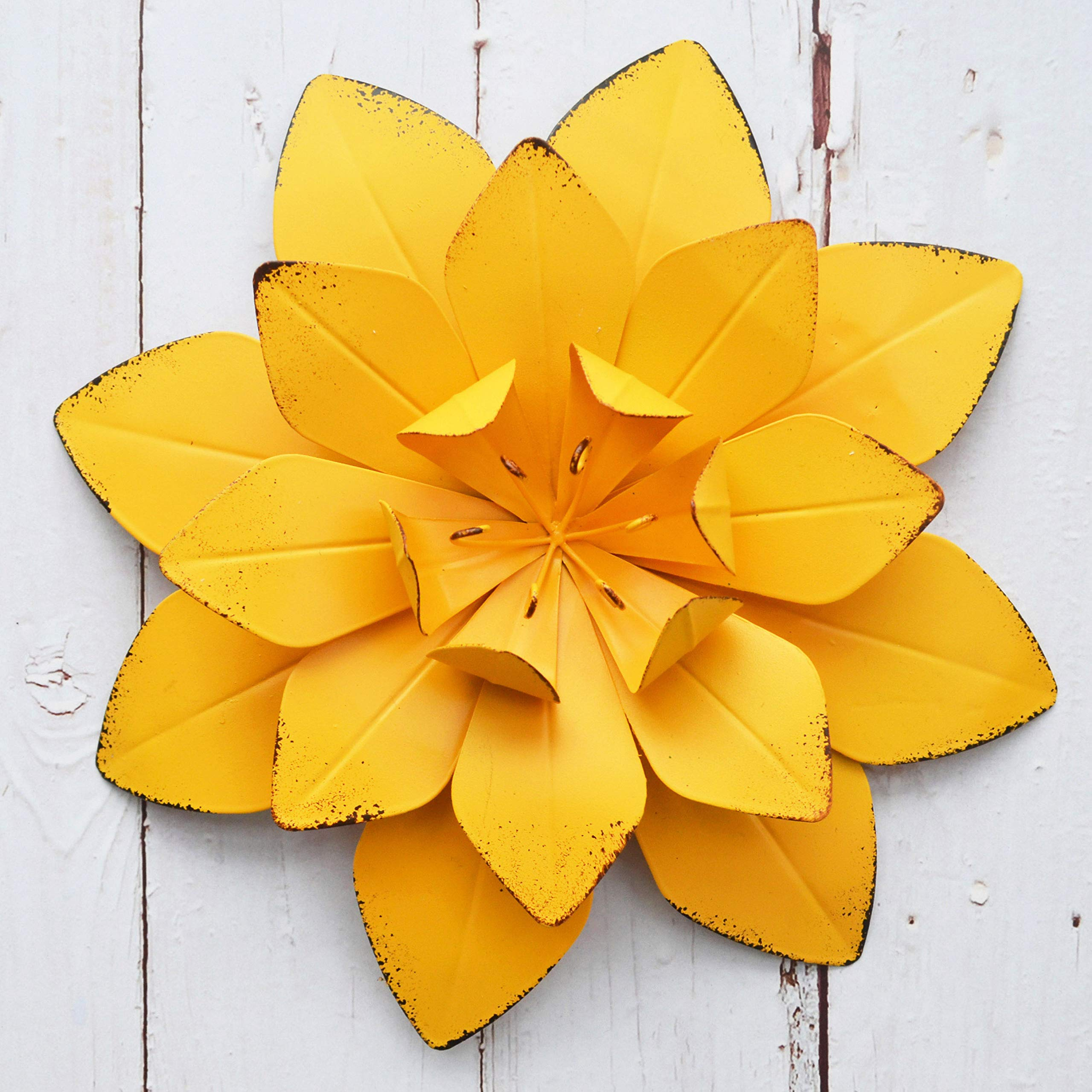 GIFTME 5 Yellow Metal Layered Flower Wall Decor for Bathroom Livingroom Garden Indoor or Outdoor Wall Sculptures(10X2 inch) by GIFTME 5