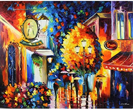 Rainy Night Paint by Number Kit Abstract Park Walkway DIY Kit Painting on canvas
