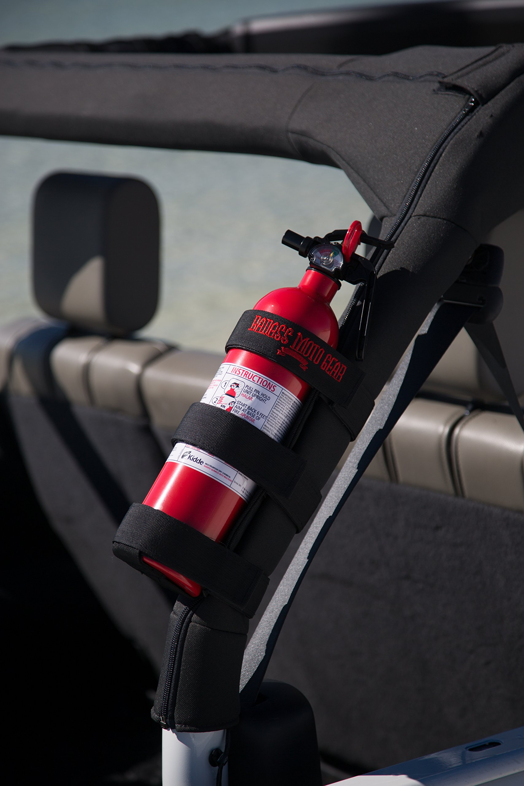 Badass Moto Gear Adjustable Roll Bar Fire Extinguisher Holder for Jeeps – Durable Stitching. Easy Install. for Jeep Wrangler, Unlimited, CJ, JK, TJ, Rubicon, Sahara, Sport. Extinguisher not Included. by Badass Motogear (Image #4)