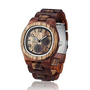 Reloj de madera ZEITHOLZ – TANNENBERG - 100% de Madera de Sándalo y Zebrano -
