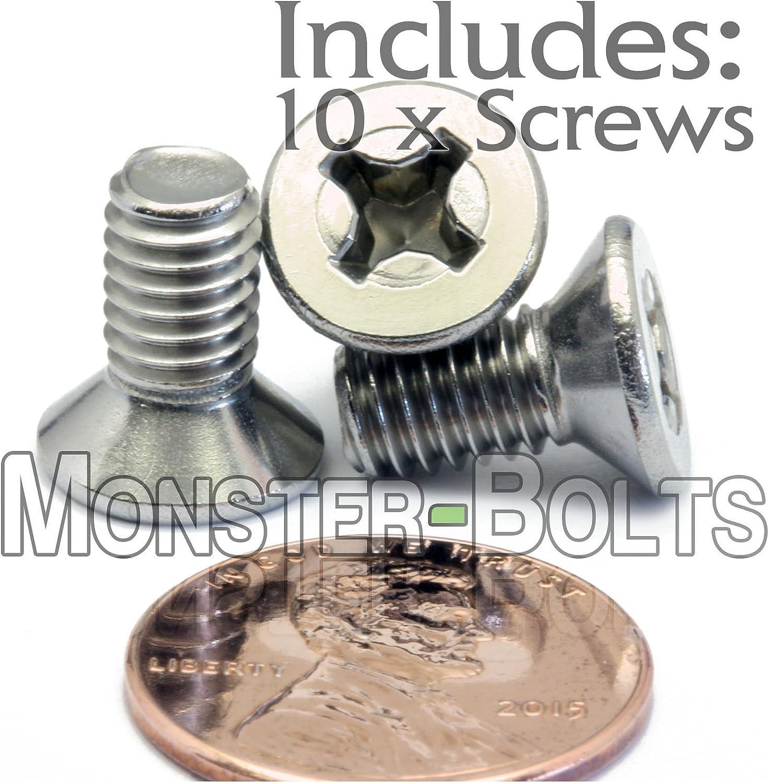 M6 Flat//Countersunk Head Socket Screws,Pack 10-Piece,Stainless Steel,Full Thread,Right Hand,Metric M6 x 65mm