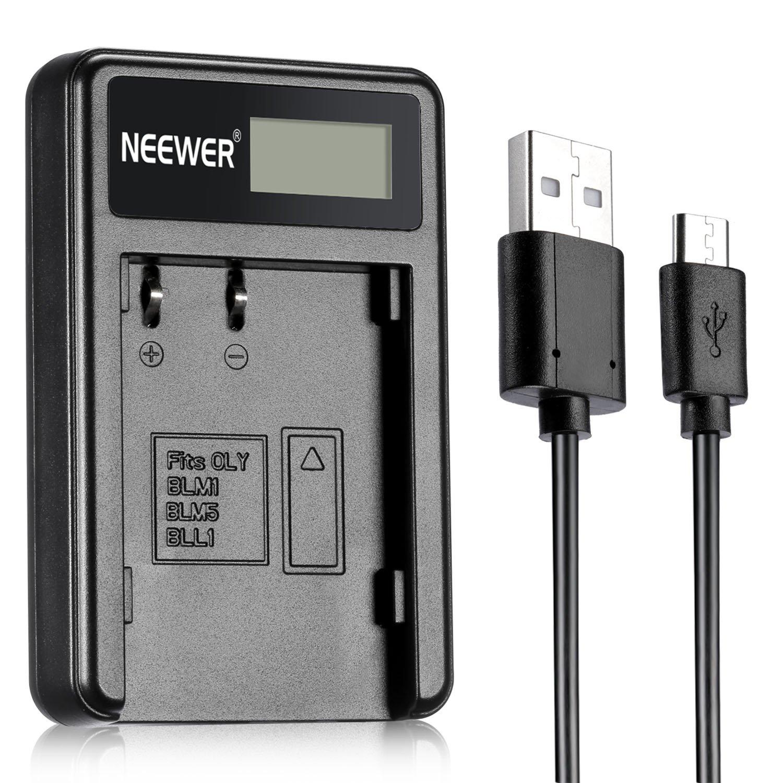 Neewer® NW-BLM1 USB Battery Charger Compatible with Olympus BLM-1, BLM-5, BLL1 Battery for Olympus C-5060 C-7070 C-8080 E-1 E-3 E-30 E-300 E-330 E-500 E-510 E-520 Digital Cameras