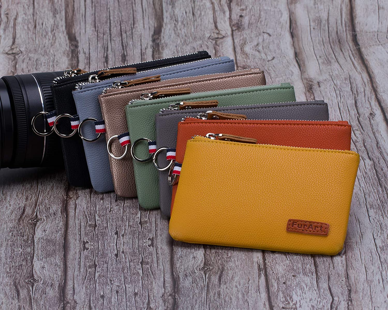Dual Keyring Change Purse with Zipper Inner Pocket FurArt Coin Purse Soft Coin Pouch Mini Size