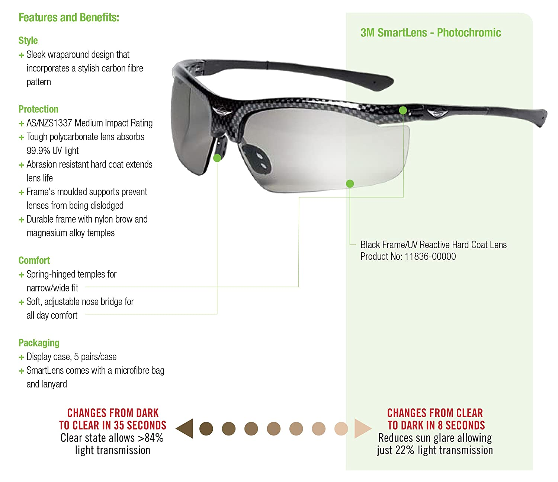 3M Smart Lens Protective Eyewear, 13407-00000-5 Photochromatic Lens ...