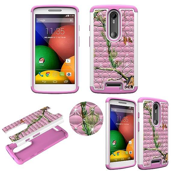 Hybrid Pink Camo Mozy Crystal Diamond for Motorola Droid Turbo 2 Ultra Shock Proof Slim Case