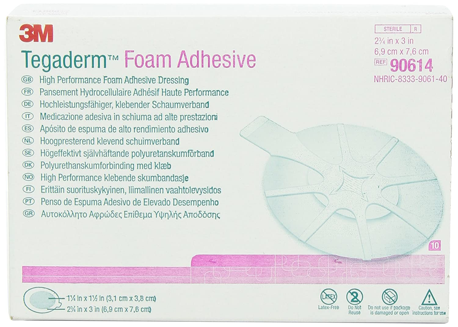 3M 90614 Tegaderm High Performance Foam Adhesive Dressing, Mini Oval, 10 Pads Per Pack (Pack of 1)