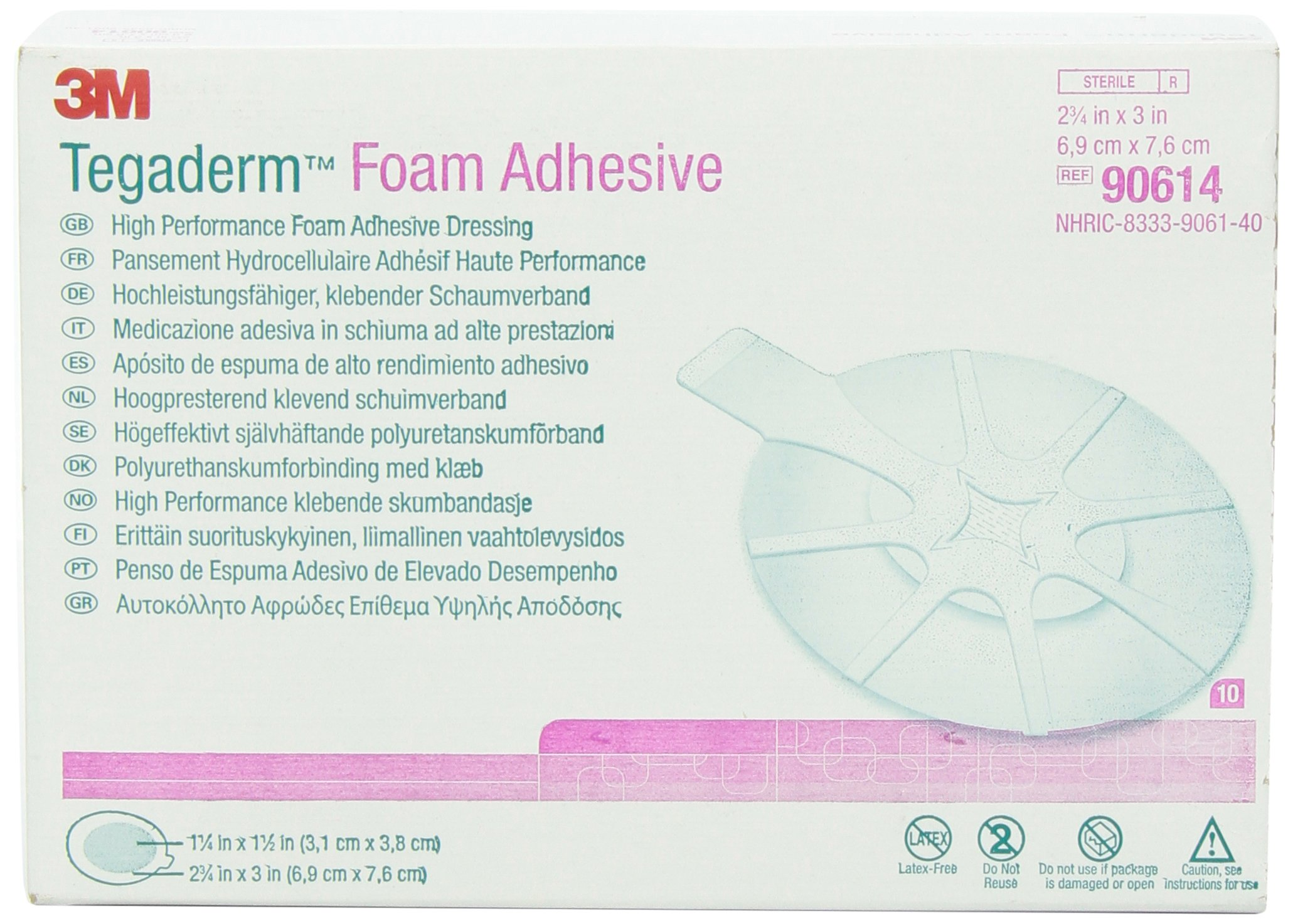 3M 90614 Tegaderm High Performance Foam Adhesive Dressing, Mini Oval, 10 Pads Per Pack (Pack of 1) by 3M