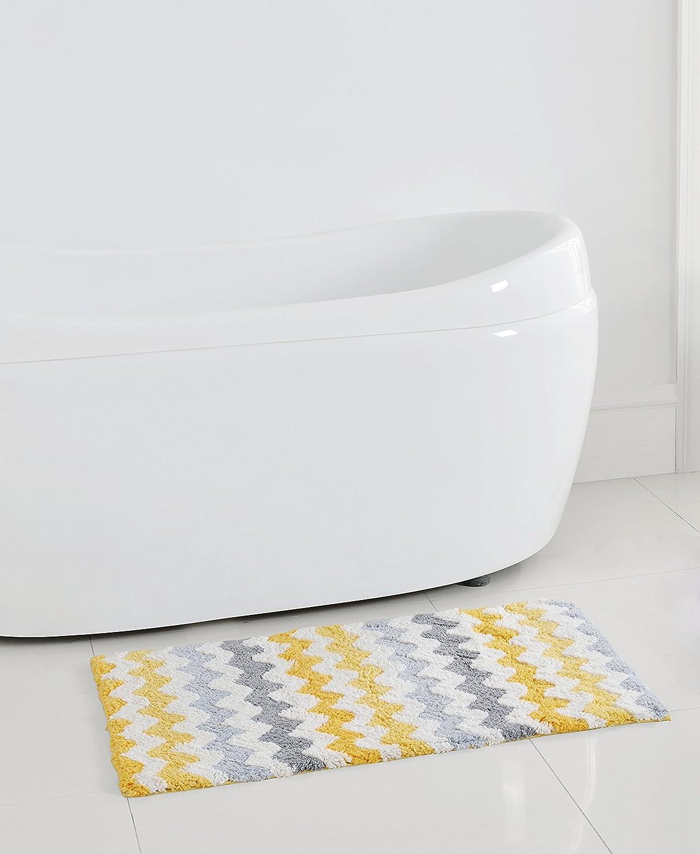 Amazoncom Corso Chevron Zig Zag Bath Rug Mat Yellow Gray White