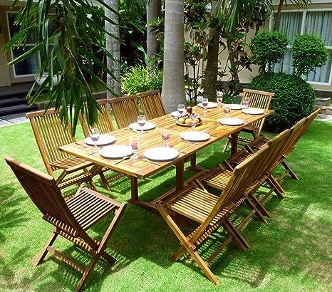 Set de mesa y sillas de jardín para 10 personas teca encerada ...