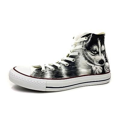 b6c07efbbb9a Wenartwork Husky Hand Painted Canvas Shoes Men Women White High Top Fashion  Sneakers  Amazon.co.uk  Shoes   Bags