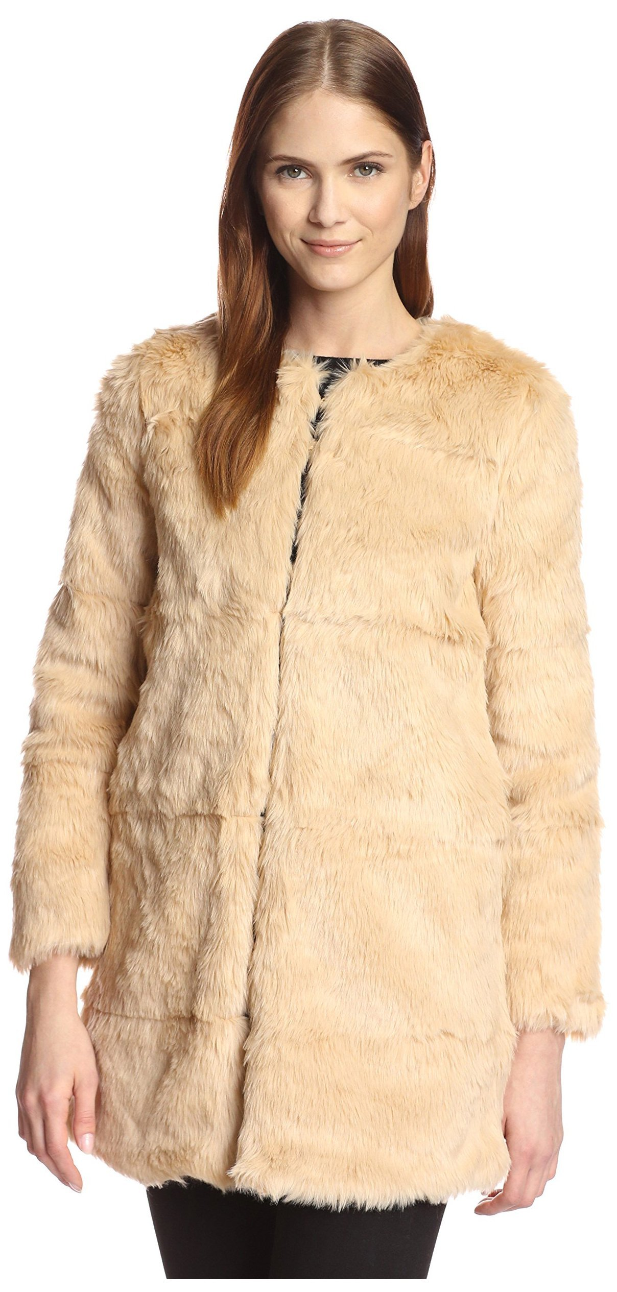 Love Token Women's Cameron Faux Fur Coat, Beige, L