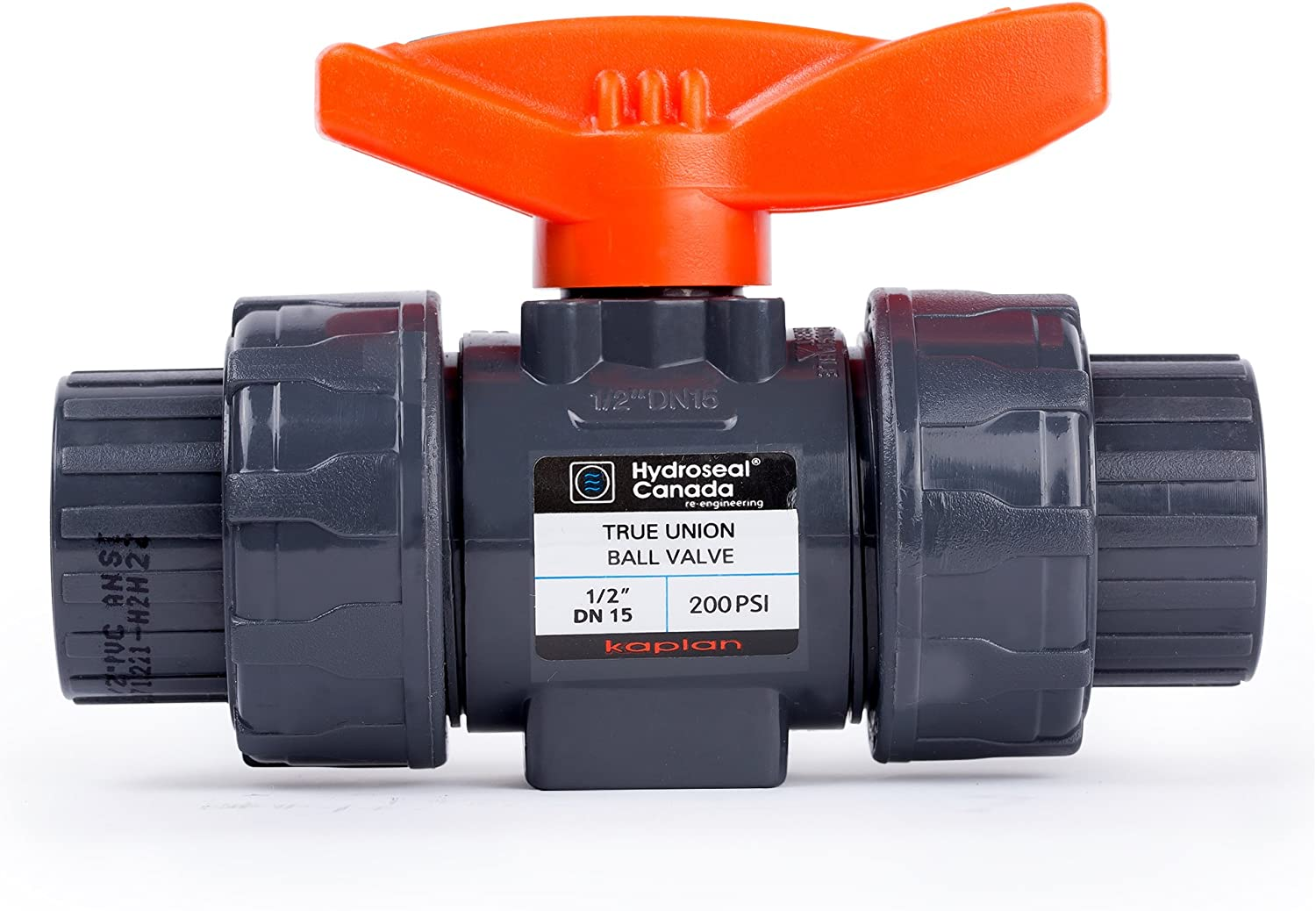 """HYDROSEAL Kaplan 1/2"""" PVC True Union Ball Valve with Full Port, ASTM F1970, EPDM O-Rings and Reversible PTFE Seats, Rated at 200 PSI @73F, Gray, 1/2 inch Socket (1/2"""")"""