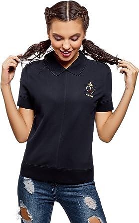 oodji Ultra Mujer Polo con Cremallera y Bordado: Amazon.es: Ropa ...
