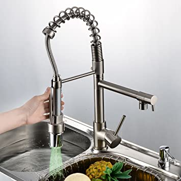 Rozin Nickel Brushed LED Colors Changing Kitchen Sink Faucet Brass Pull Out  Mixer Tap.