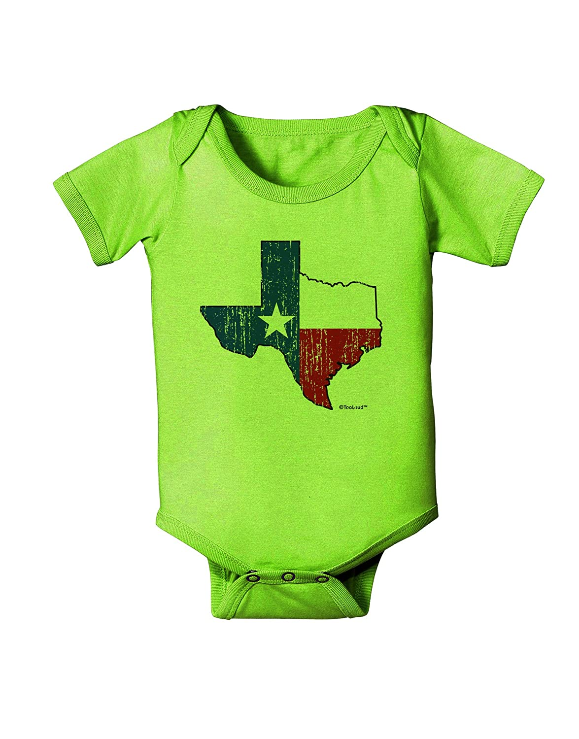 TooLoud State of Texas Flag Design Distressed Baby Romper Bodysuit