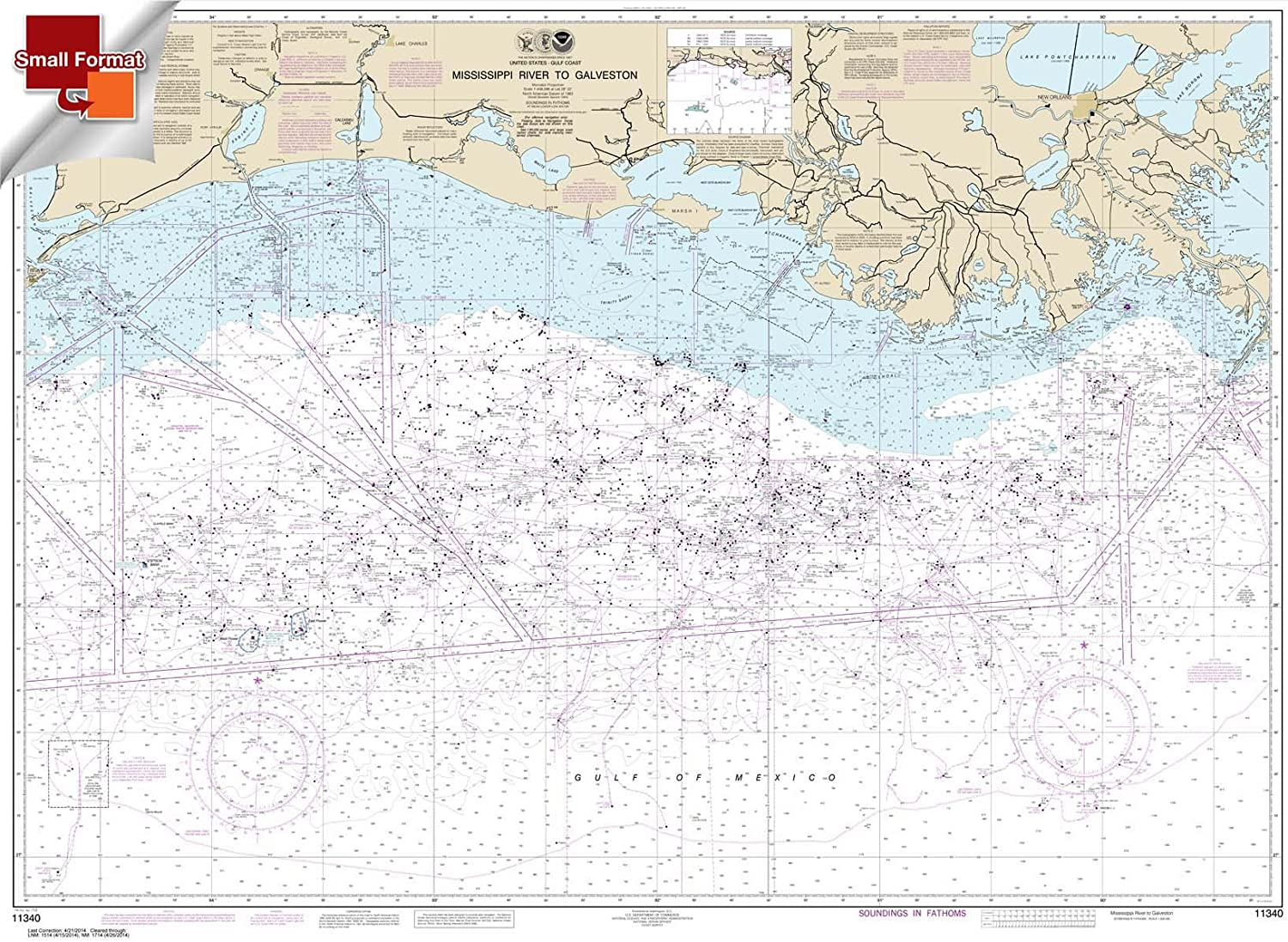 Paradise Cay Publications NOAA Chart 11340 Mississippi River to Galveston 21.00 x 28.93 SMALL FORMAT WATERPROOF