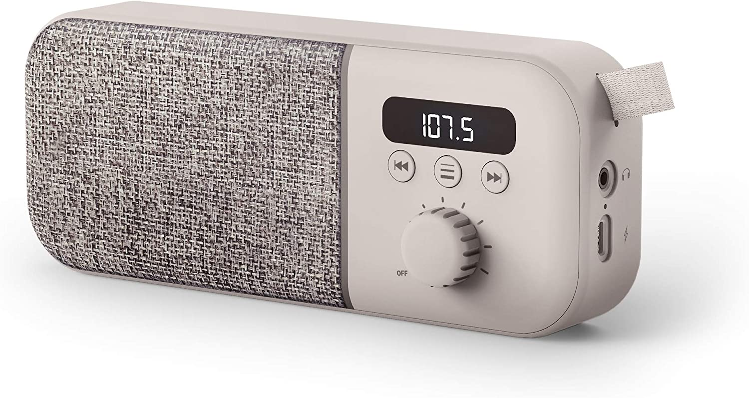 Energy Sistem Fabric Box Radio Cream Altavoz portátil (FM Radio, 1200 mAh Batería, 3 W, PLL Tuner, Audio-out)