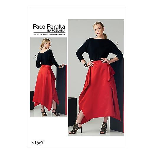 Vogue Patrones de Costura para Top y Falda, Tejido, Multicolor, 20 ...