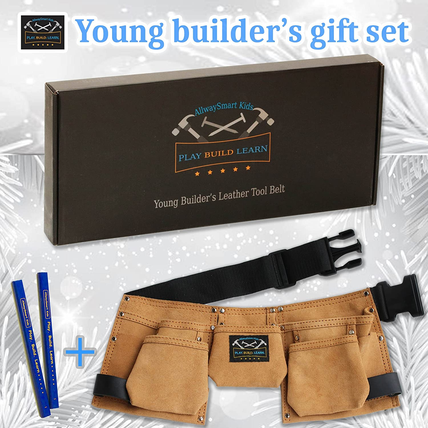 Real Leather Kids Tool Belt Woodworking Gift Set With Childrens