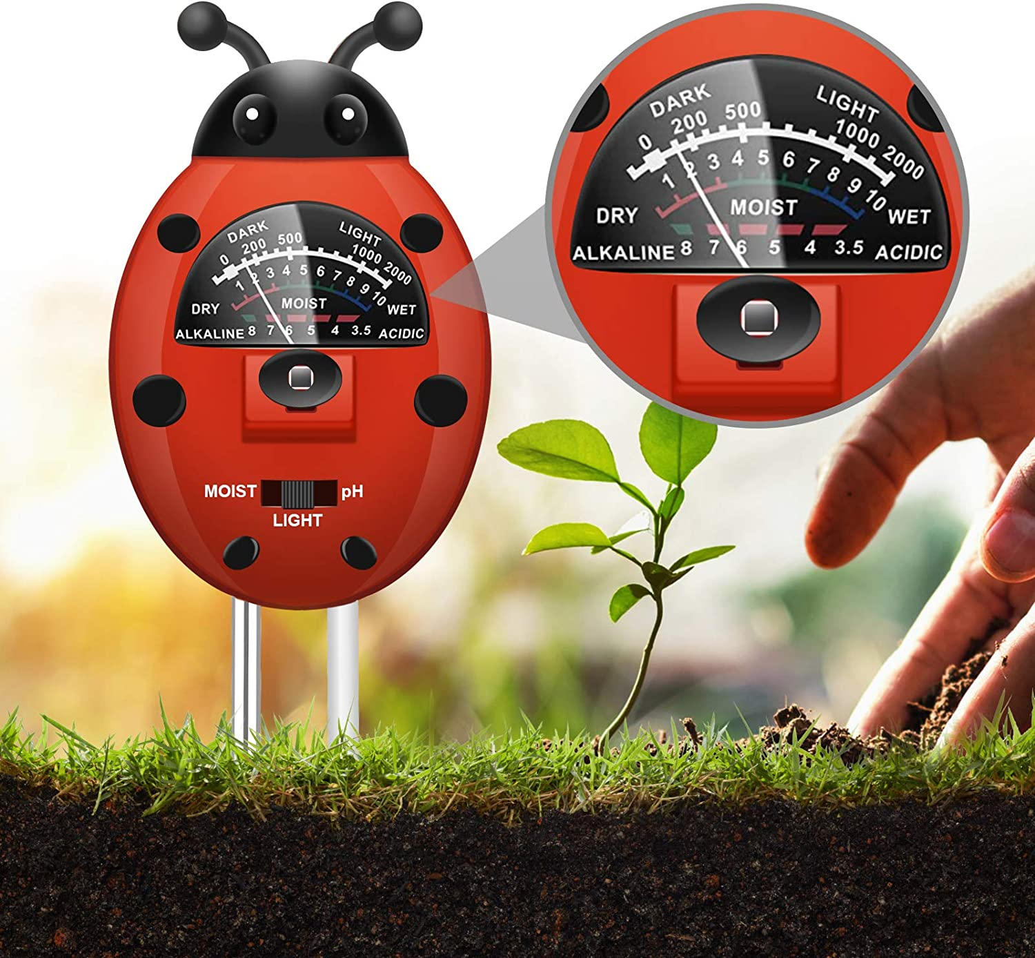 UNIWA Plant Moisture Meter, 3-in-1 Soil Tester Kit with Plant Moisture, Light and pH Tester, Soil pH Meter for Garden, Farm, Lawn, Indoor and Outdoor (No Battery Needed), Colorful Ladybug Shape