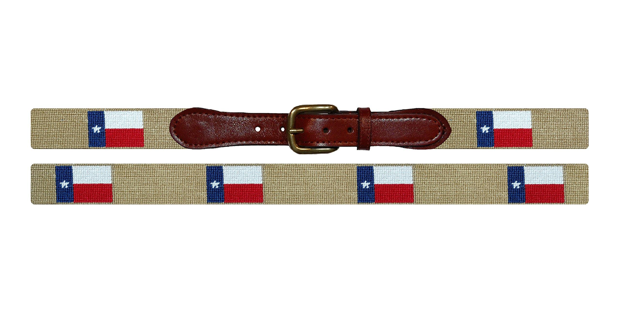 Smathers & Branson Texas Flag Traditional Needlepoint Belt, Size 36 (B-244-36)
