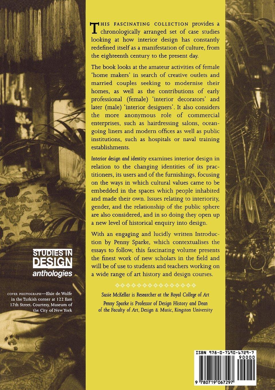 Interior Design And Identity Studies In Material Culture Amazoncouk Penny Sparke Susie McKellar 9780719067297 Books
