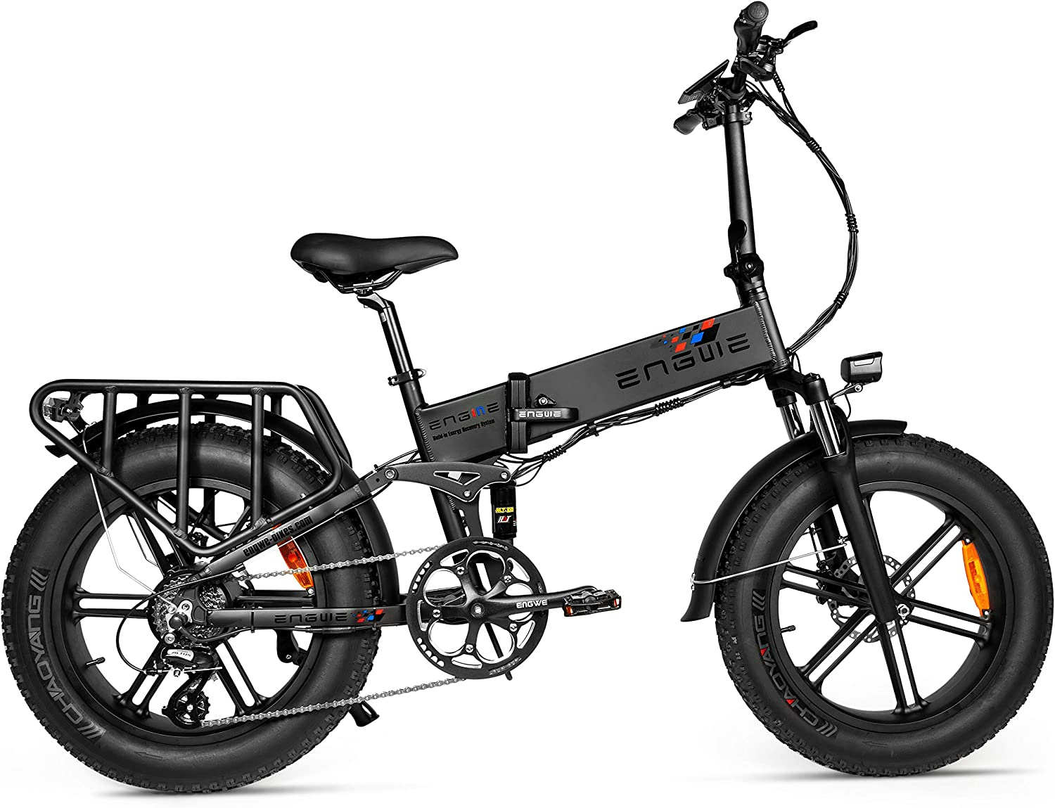 ENGWE Upgrade 500W 20 inch Fat Tire Electric Bicycle Mountain Beach Snow Bike for Adults, Aluminum Electric Scooter 8 Speed Gear E-Bike with Removable 48V12.8A Lithium Battery (ENGIE)