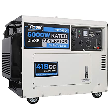 Pulsar PG7000D 5,000 Rated Watts Closed Frame Diesel-Powered Generator with  Electric Start, EPA Approved