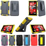 For Nokia Lumia 820 Cellularvilla™ 3pc 3rd Gen Hard and Soft Grey/Yellow Kickstand Case with Holster Clip (Only Fit Nokia Lumia 820) (Grey/Yellow)