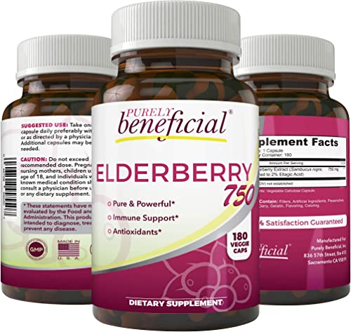 Organic Elderberry 750mg-180 Capsules, Vegetarian Vegan Sambucas Nigra Natural Immune Support Booster- Gluten Free, Non-GMO- 3 Month Supply 1bottle