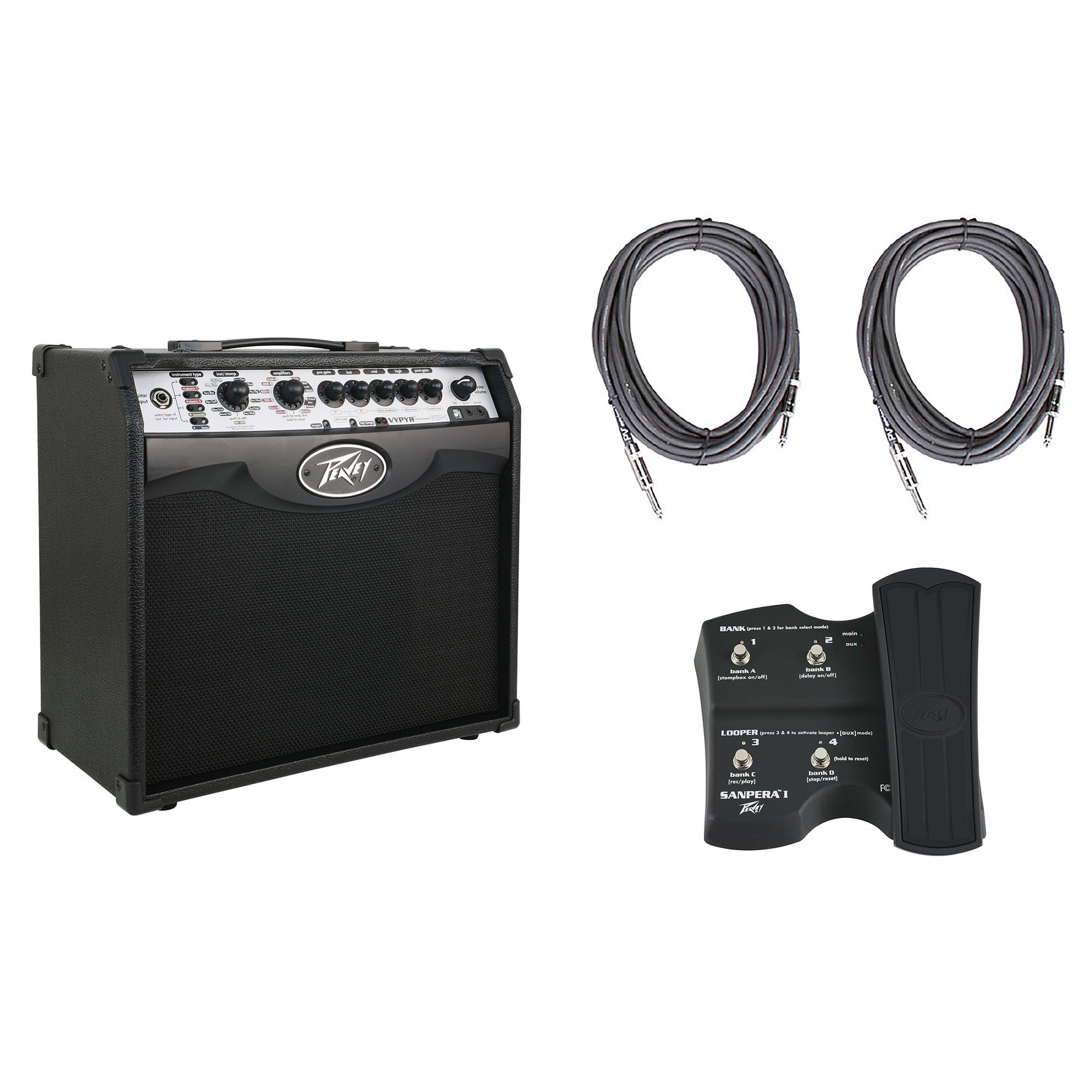 Peavey Vypyr VIP 1 Combo Guitar/Bass Modeling Amplifier + (2) 10' Cables + Sanpera I Foot Controller by Peavey
