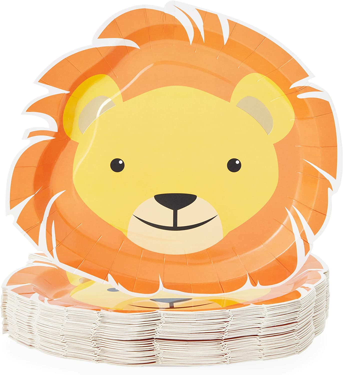 Safari Party Decorations, Lion Plates (13 x 10 In, 48-Pack)