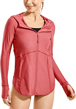 CRZ YOGA Women's Full Zip Up Hoodie Swimwear Long Sleeve Cover-Ups Jacket Lightweight Workout Tops