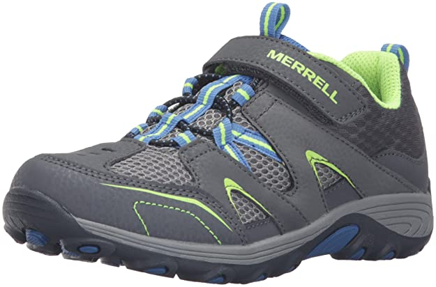 Merrell Trail Chaser Hiking Shoe , Grey/Blue/Citron, 5 M US Big Kid best kids' hiking shoe