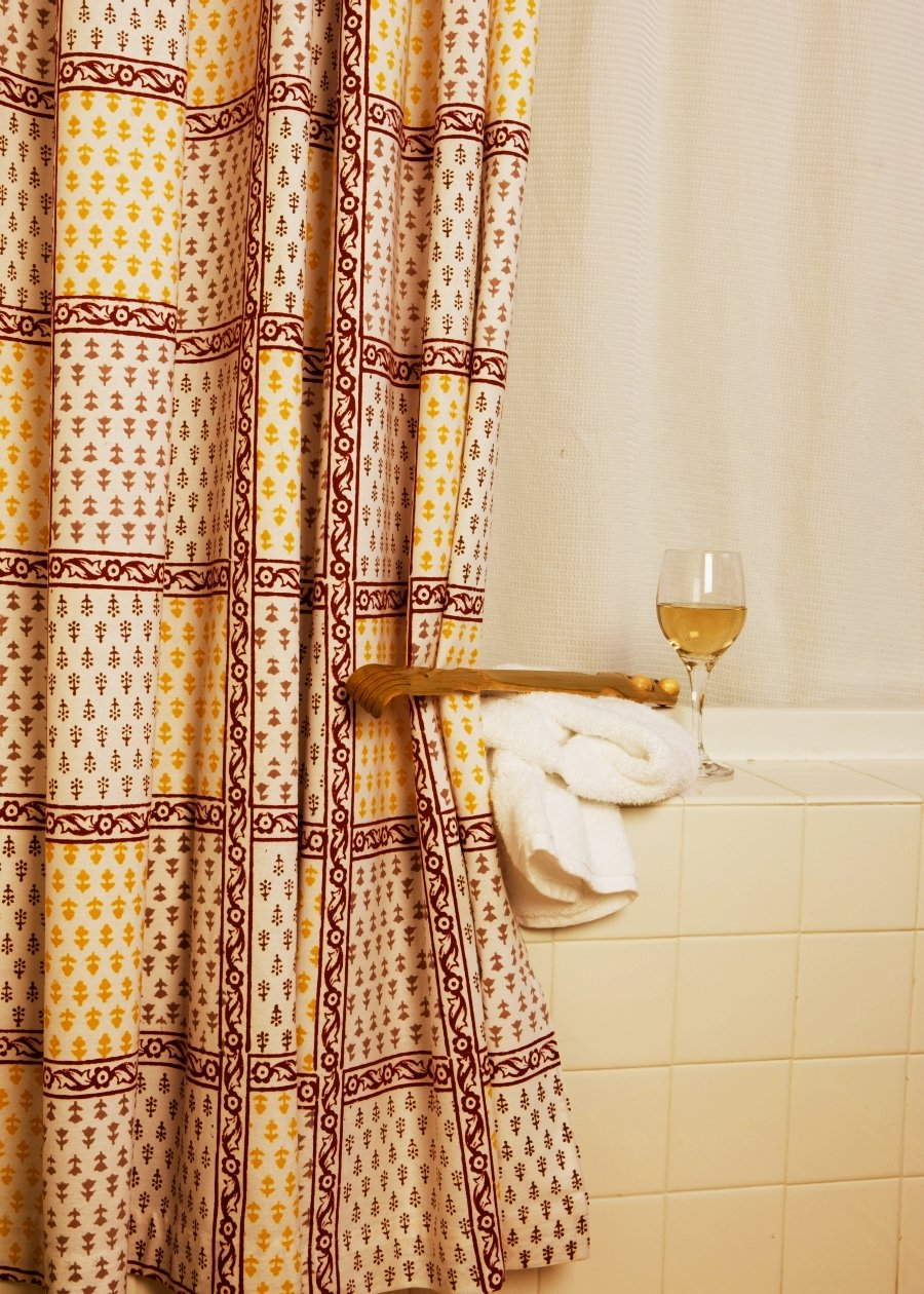 French Country Red Shower Curtain Bohemian Style