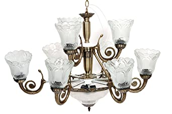 Amazon Deals · Sah Metal And Glass Antique Chandelier With 9 Lamps And 1  Glass, 30 Inches