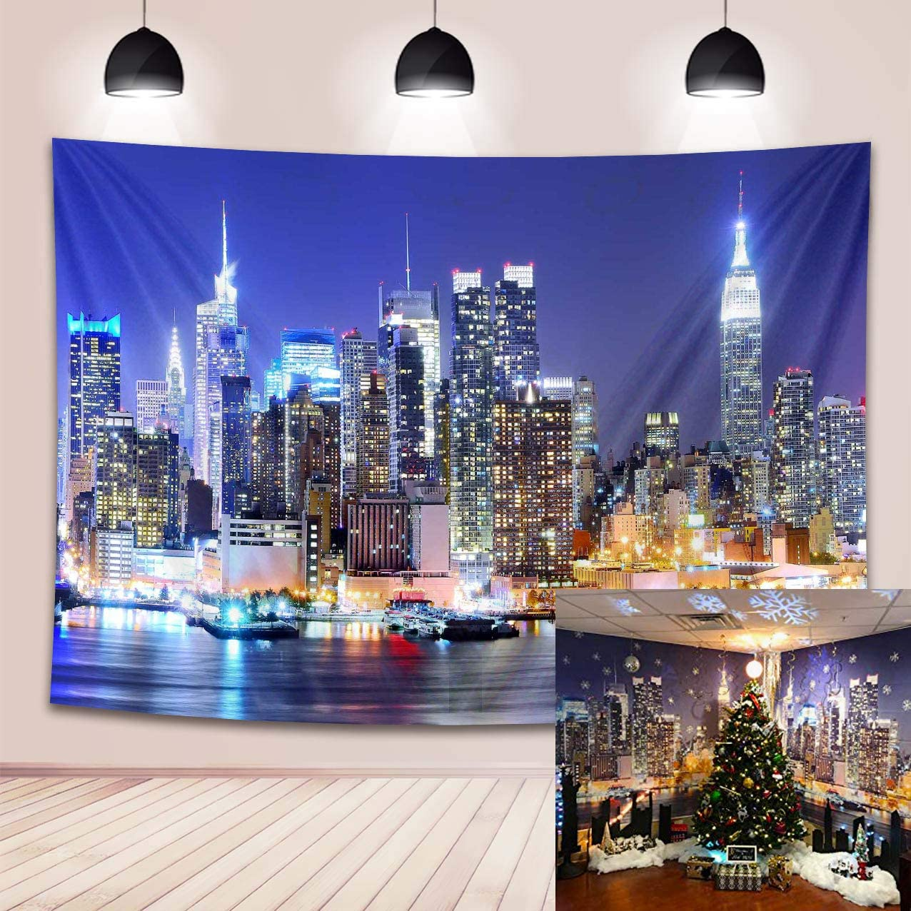 New York City Backdrop Manhattan Night Scene Skyscraper Urban Light Skyline Background Photo Studio Porps 7x5FT