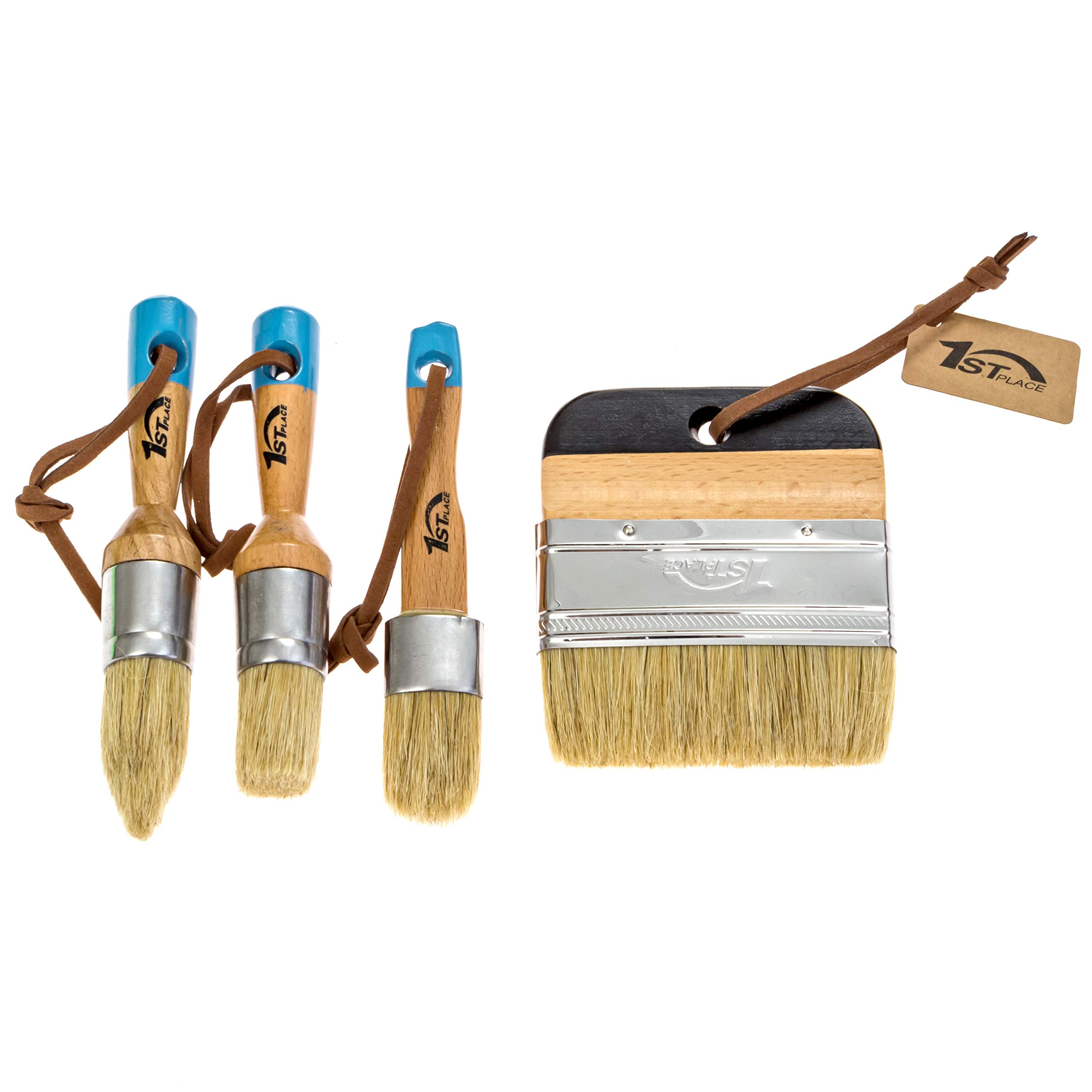 1st Place Ultra Chalk Paint & Wax Natural Bristle Brush Set - Annie Sloan Quality (4 Brushes)