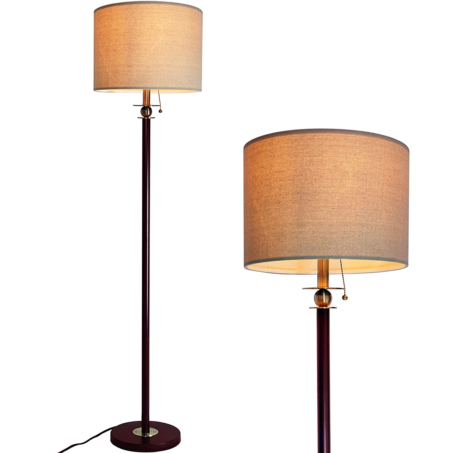 Floor Lamp for Living Room, Modern Standing Lamp with Hanging Drum Shade, Thickened Tall Pole Lamp for Office with Pull Chain and Floor Switch (Bronze)