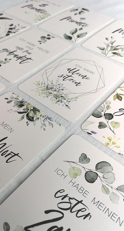 Baby Meilenstein Karten Geschenkset Gr/ün inkl Geschenkbox zur Geburt Babyparty Schwangerschaft Taufe Milestone Cards Geschenkidee Erinnerungskarten Meilensteinkarten Junge M/ädchen