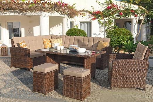 Mojawo Luxus esquina Lounge 6 piezas muebles de jardín ratán Set ...