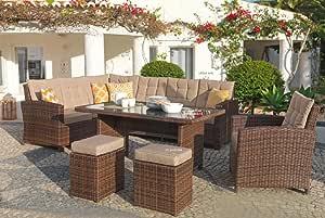 Mojawo Luxus - Conjunto de muebles de jardín de 6 piezas de ratán esquinero, juego de muebles de jardín, mesa de jardín, sofá de jardín Chiara, color marrón: Amazon.es: Hogar