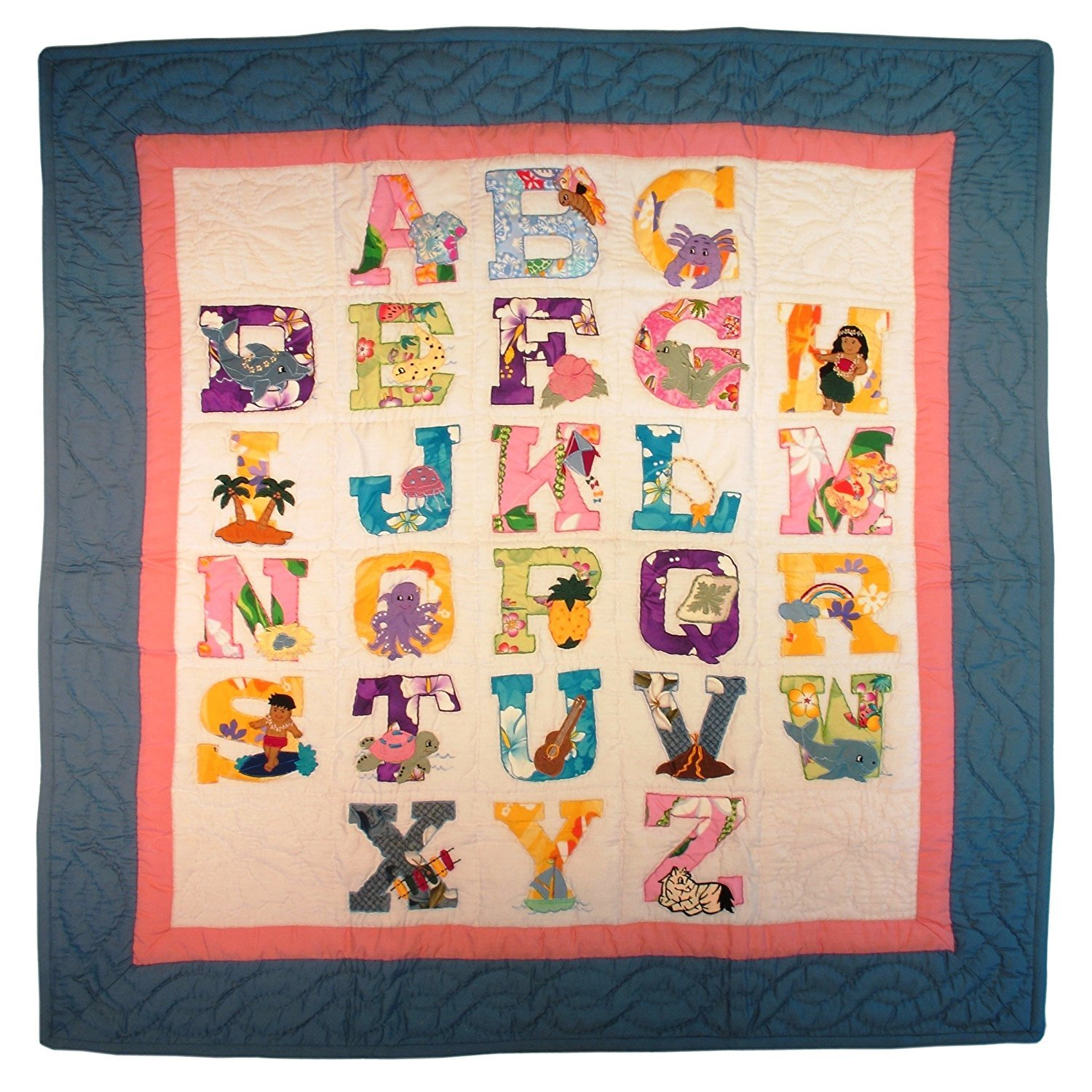 Hawaii Style Baby Quilt or Wall Hanging ABC Pastel Colors