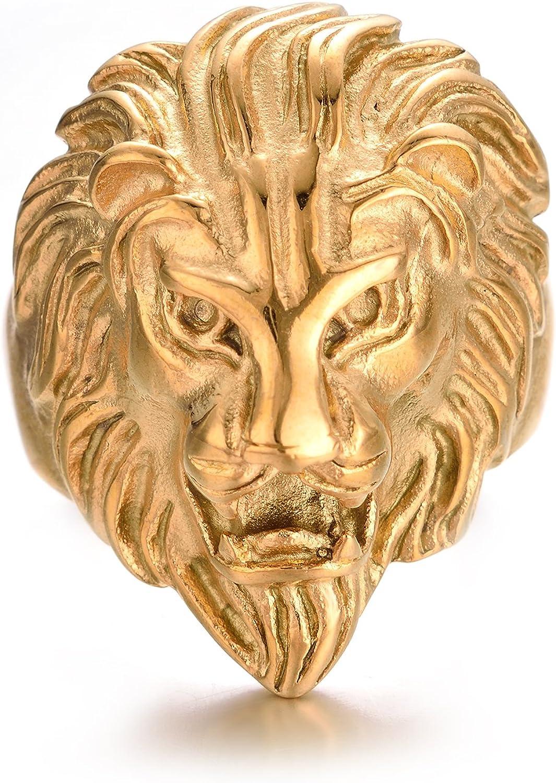 Yoursfs Chevaliere Hommes Bague 18K Placage /à lor La Mode Bijoux Accessoire Bague T/ête de Lion Homme