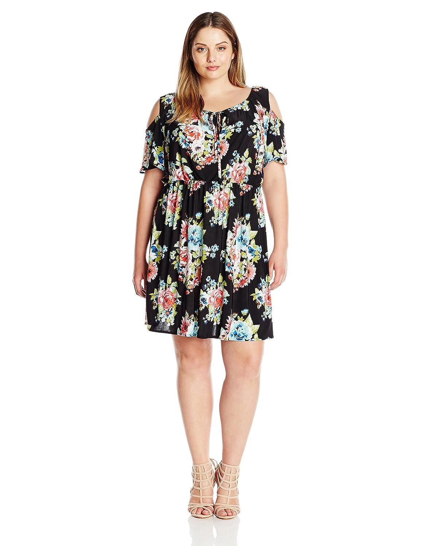 Star Vixen Women\'s Plus Size Ss Cold Shoulder Short Peasant Dress
